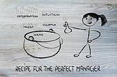 funny girl creating the recipe for the perfect ceo