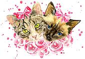 Fashionable watercolor cats  in pink roses isolated on white background