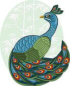 vector  chinese style peacock on bamboo background