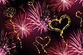 heart fireworks background