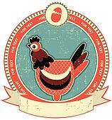 Chicken head label on old paper texture.Vintage style
