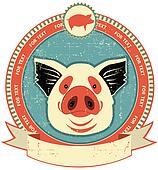 Pig head label on old paper texture.Vintage style