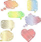 Doodle speech bubbles set
