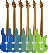 Colorful Bass Guitars
