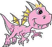 Cute Pink Girl Dragon Vector