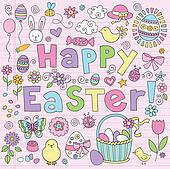 Easter Bunny Eggs Doodle Vector Set