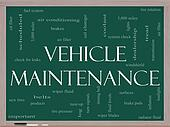 Vehicle Maintenance Word Cloud Concept on a Blackboard