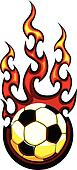 Soccer Flaming Ball Vector