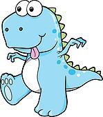Silly Goofy Blue Dinosaur T-Rex