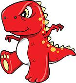 Angry Mean Red Dinosaur T-Rex