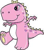 Cute Pink Girl Dinosaur T-Rex