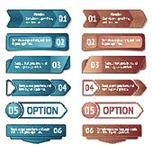 Retro cardboard infographics options