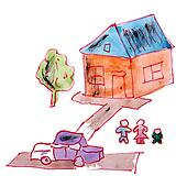 drawing children watercolor house, yard cartoon on a white backg