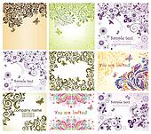 Vintage floral greeting cards