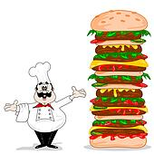 A cartoon chef with cheeseburger