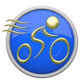 Bike Riding Blue Icon Gold