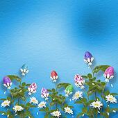 Pastel background with multicolored eggs and flowers to celebrate