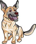vector cartoon dog German shepherd breed
