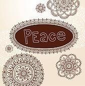 Henna Peace Flower Frames Vector
