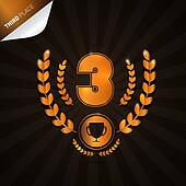 Vector Illustration of Third Place, Bronze Medal Theme on Dark Background