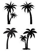 palm tropical tree set icons black silhouette illustration