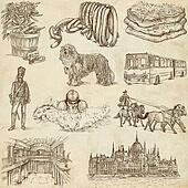 Hugary travel - An hand drawn pack