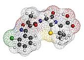 Cloxacillin antibiotic drug molecule. Atoms are represented as s