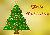 Colorfully decorated christmas tree on a gold with German text