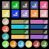 lunch box icon sign. Set from twenty seven multicolored flat buttons.