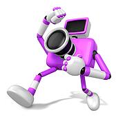 A Purple Camera Character and a martial arts. Create 3D Camera Robot Series.