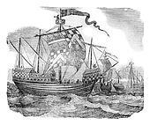 British ships during the reign of Edward IV, vintage engraving.