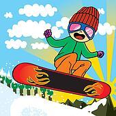 Active Snowboarder Kid