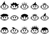 cartoon kids face with hair style icons