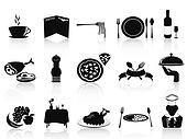 black restaurant icons set