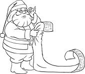 Santa Claus Reads From Christmas List Coloring Page