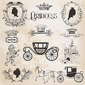 Vintage Princess Girl Set - for design and scrapbook - in vector