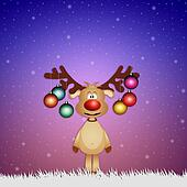Funny reindeer with Christmas balls