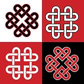 Celtic knot hearts red and blabk