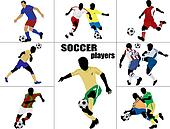 Soccer players silhouette