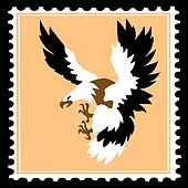silhouette of the ravenous bird on postage stamps