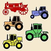 tractor set on white background