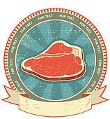 Meat label set on old paper texture.Vintage background