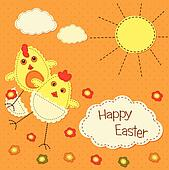 Easter background with stylized chicks