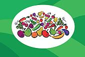 fruits and vegetables on card