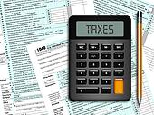 u.s. individual income tax return form 1040 with calculator and