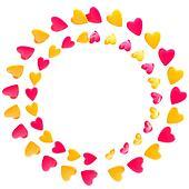 Circular frame border made of hearts isolated