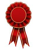 Red and gold rosette , blank