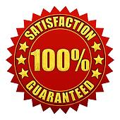 100 percent satisfaction guaranteed , red and gold warranty label isolated on white