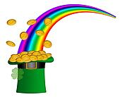 Saint Patricks Day Hat of Gold with Rainbow