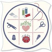 Embroidery Icons, Red, White, Blue